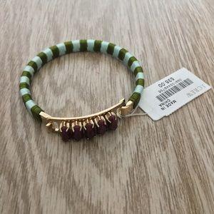 J.Crew — Ruby Gold Green Blue Striped Bracelet